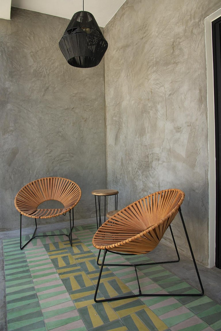 Mid-Century Modern Handwoven Midcentury Inspired Cali Lounge Chair, Steel and Leather For Sale