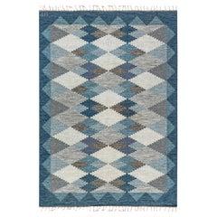 Handwoven Midcentury Scandinavian Flat-Weave Rug in Blue, Grey and Beige