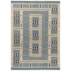 Handwoven Midcentury Scandinavian Flat-Weave Rug in Blue, Ivory, Black, Yellow