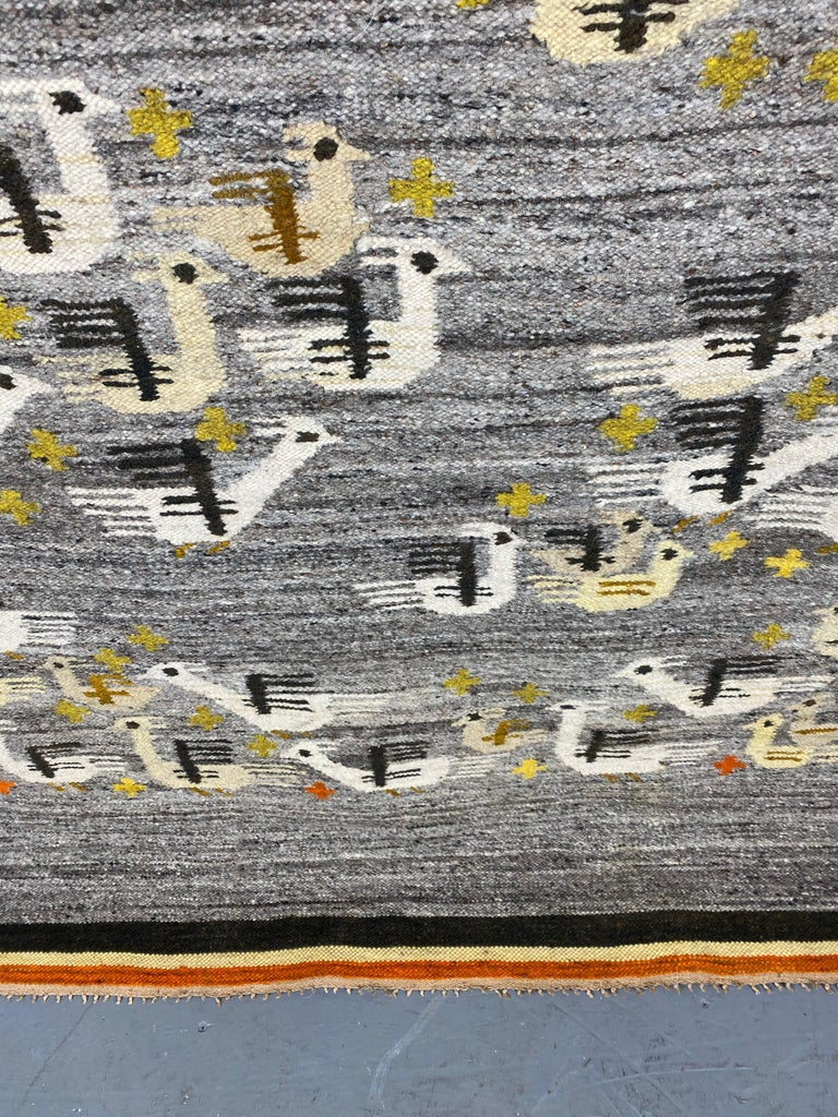 Hand-Crafted Handwoven Midcentury Swedish Rug / Wall Hanging with Stylized Bird Design For Sale