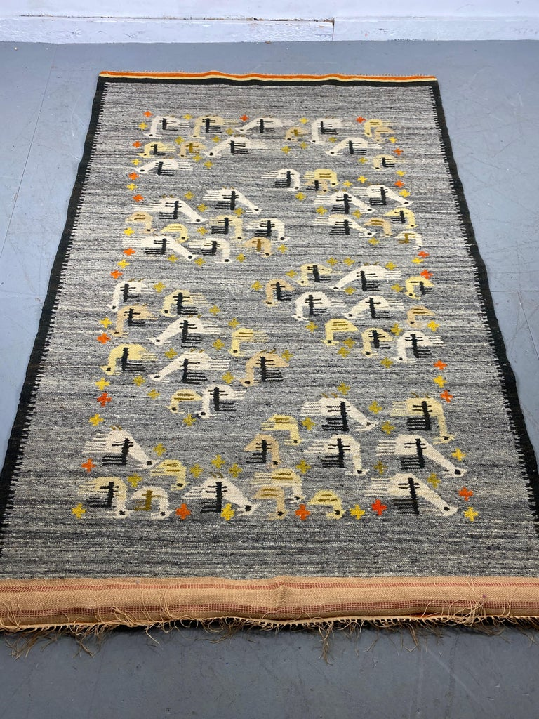 Wool Handwoven Midcentury Swedish Rug / Wall Hanging with Stylized Bird Design For Sale