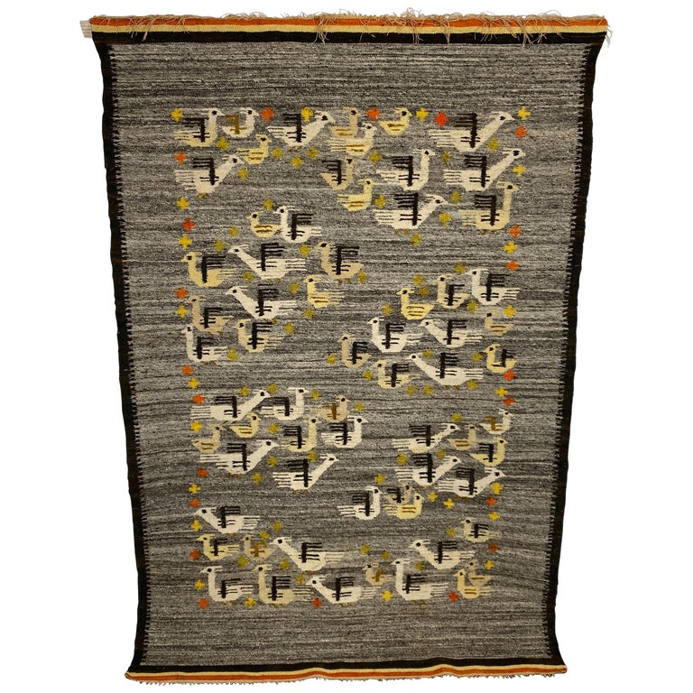 Handwoven Midcentury Swedish Rug / Wall Hanging with Stylized Bird Design For Sale