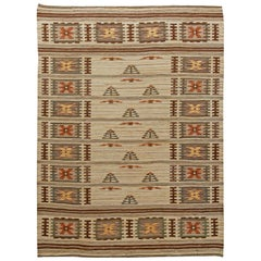 Handwoven Midcentury Swedish Rug with Stylized Garden Design
