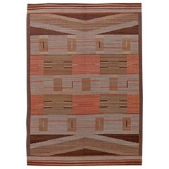 Handwoven Midcentury Swedish Wool Flat-Weave Rug in Beige, Salmon Pink and Brown