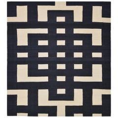 21st Century Handwoven Modern Black and White Pakistani Kilim Carpet