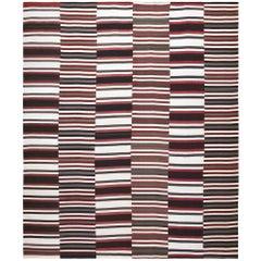 Handwoven Modern Black & White Red Kilim Carpet