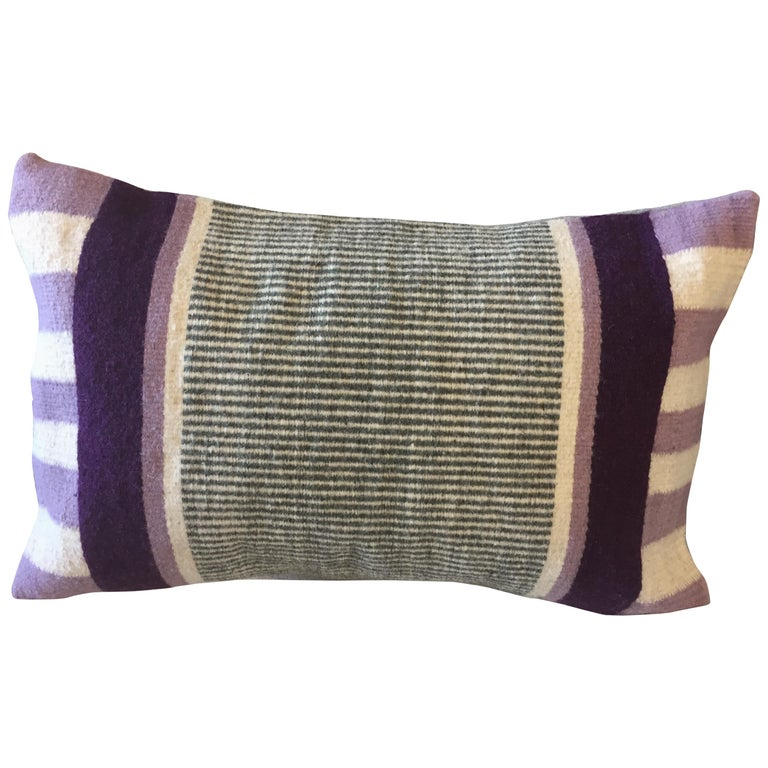 Handwoven Modern Organic Style Wool Throw Pillow with Stripes, in Stock For Sale