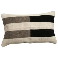Handwoven Modern Organic Wool Throw Pillow in Black and White Stripes, in Stock