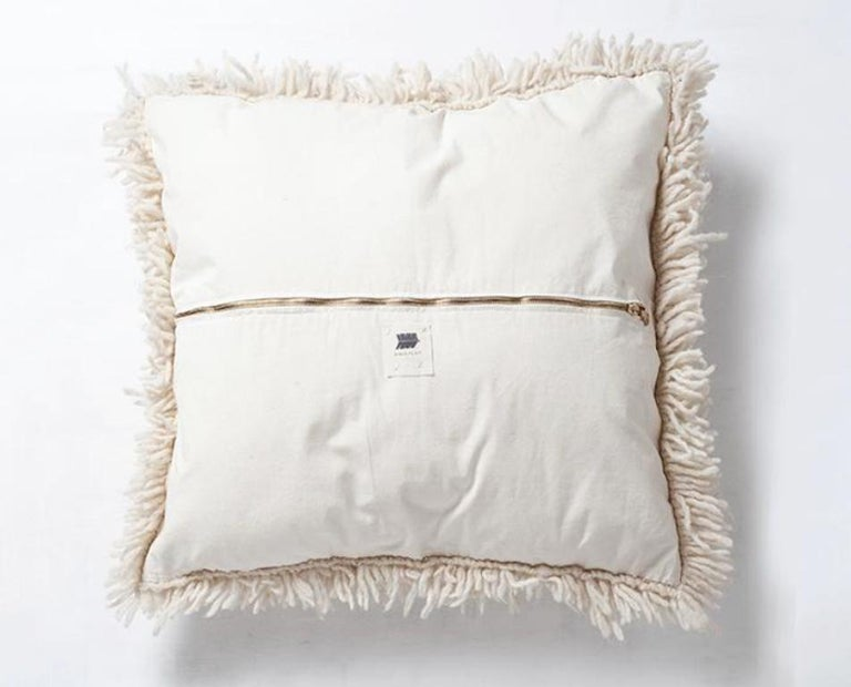 Argentine Handwoven Modern Organic Wool Throw Pillow in Ivory, in Stock For Sale
