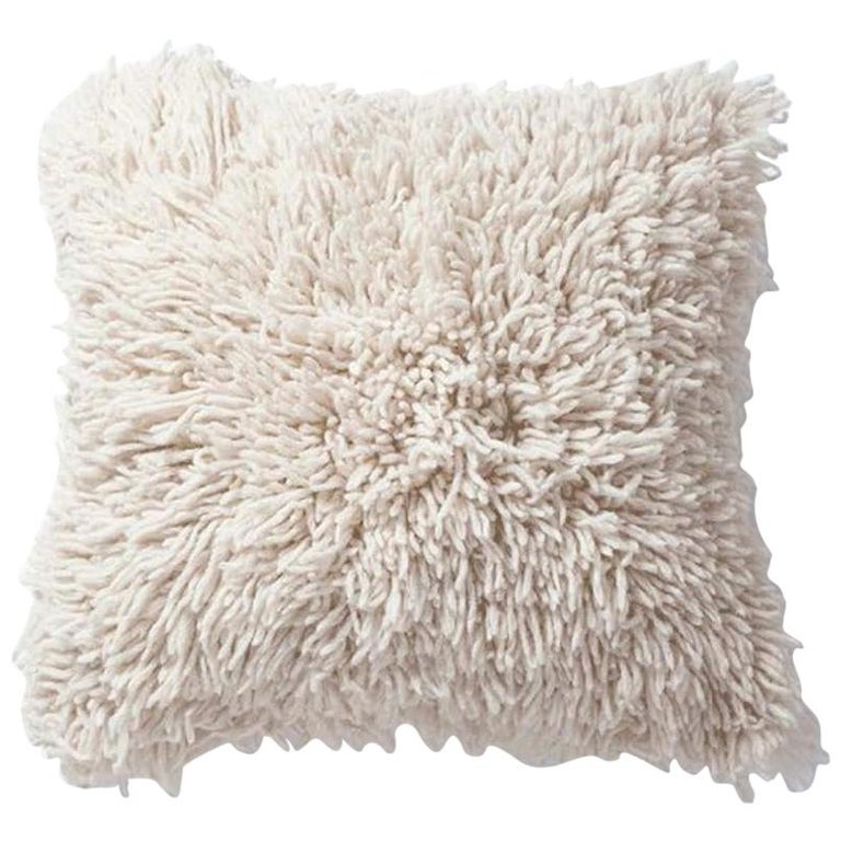 Handwoven Modern Organic Wool Throw Pillow in Ivory, in Stock For Sale