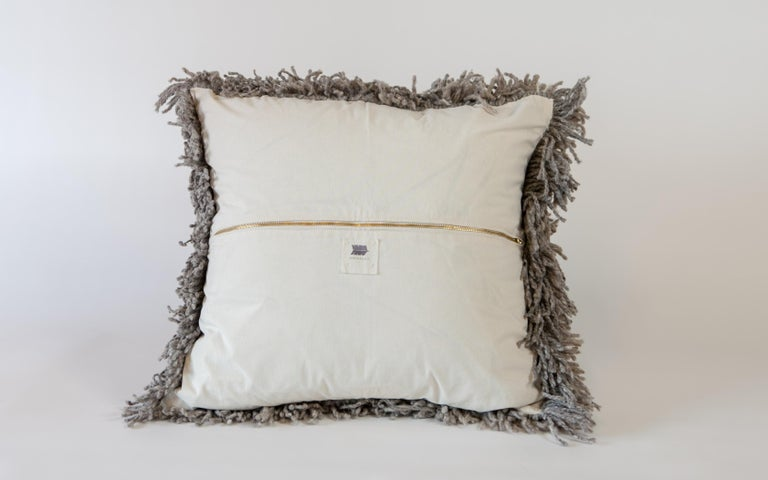 Argentine Handwoven Modern Organic Wool Throw Pillow in Silver, in Stock For Sale