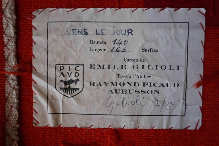 Hand-Woven Handwoven Modern Tapestry by Émile Gilioli, Vers le Jour For Sale