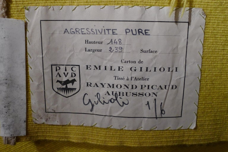 French Handwoven Geometrical Tapestry Designed by Émile Gilioli - Agressivité Pure For Sale