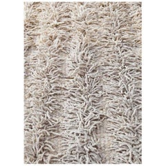 Handwoven Natural Wool Rug, Organic Modern Tailored Shag Style, in Stock