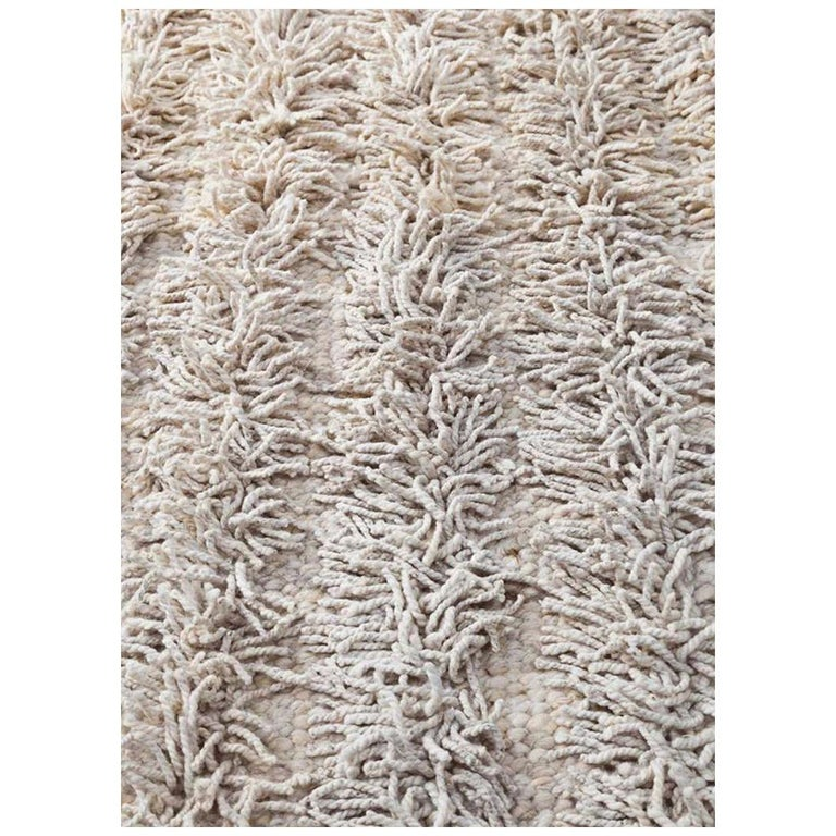 Modern Nature Rug: Handwoven Natural Wool Rug, Organic Modern Tailored Shag
