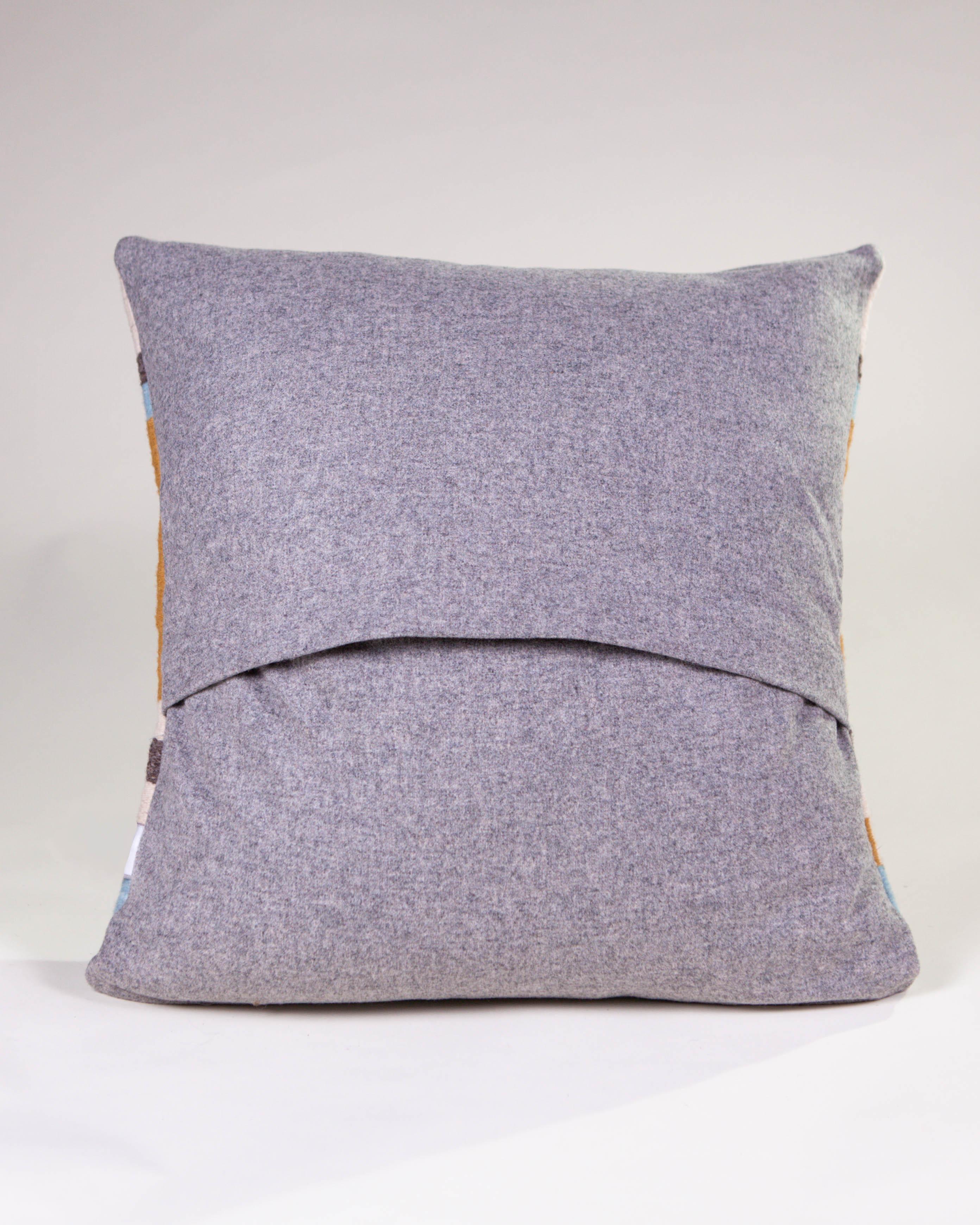 Boho Style Wool Throw Pillow in Ochre