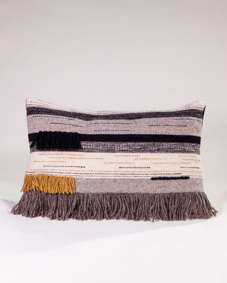 Handwoven New Boho Wool Throw Pillow in Ochre and Black with Fringe, in Stock 2