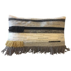 Handwoven New Boho Wool Throw Pillow in Ochre and Black with Fringe, in Stock