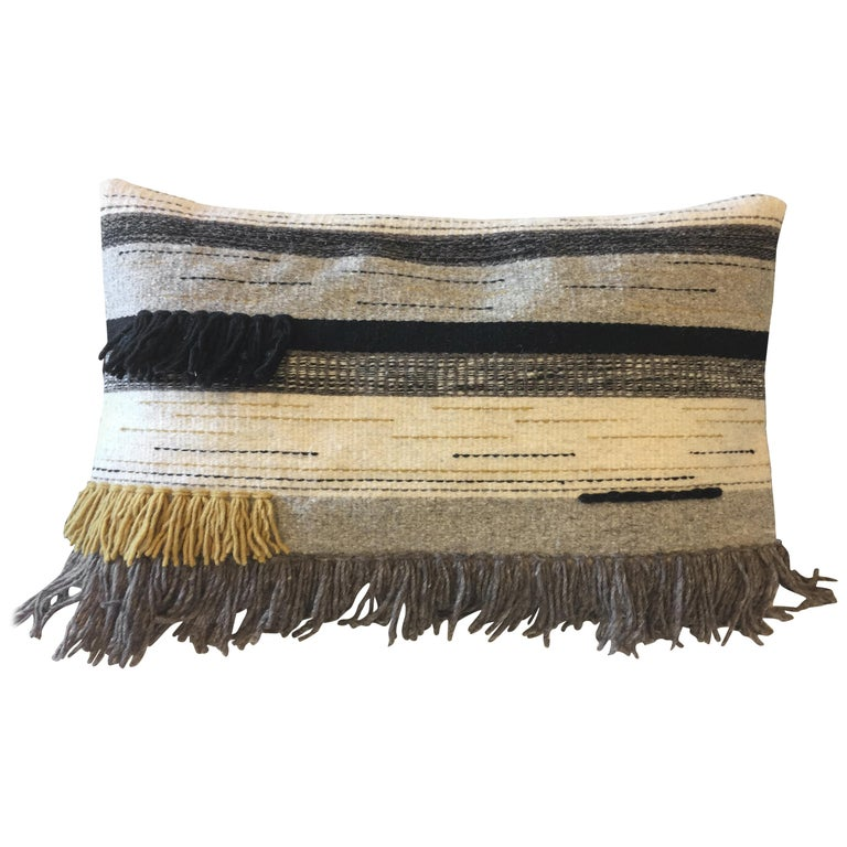 Handwoven New Boho Wool Throw Pillow in Ochre and Black with Fringe, in Stock For Sale