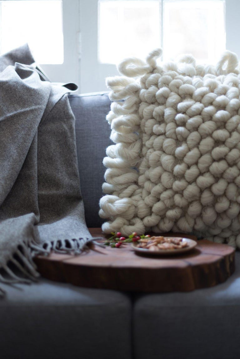 Hand-Woven Handwoven Nubby Wool Pillows in Grey, in Stock For Sale