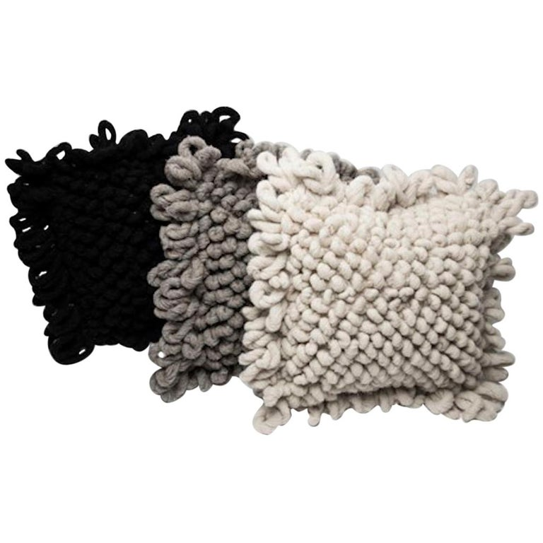 Organic Modern Handwoven Nubby Wool Pillows in Grey, in Stock For Sale