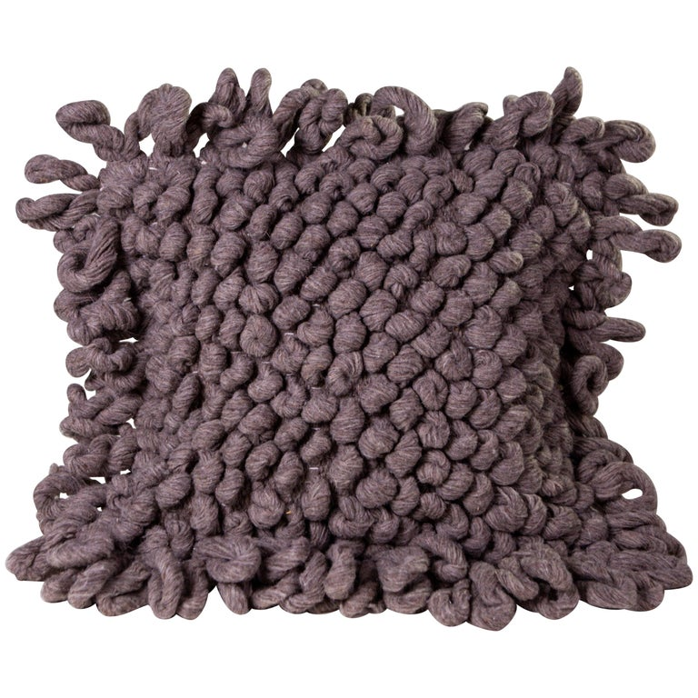 Handwoven Nubby Wool Pillows in Grey, in Stock For Sale