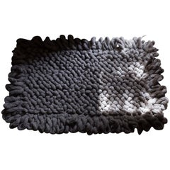 Handwoven Nubby Wool Rug in Grey, Medium, In Stock