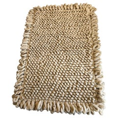 Handwoven Nubby Wool Rug in Natural, Medium, in Stock