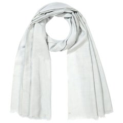 Handwoven Pale Ice Blue 100% Cashmere Scarf -  made in Kashmir