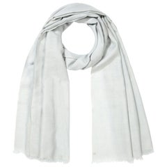 Handwoven Pale Ice Blue 100% Cashmere Shawl made in Kashmir