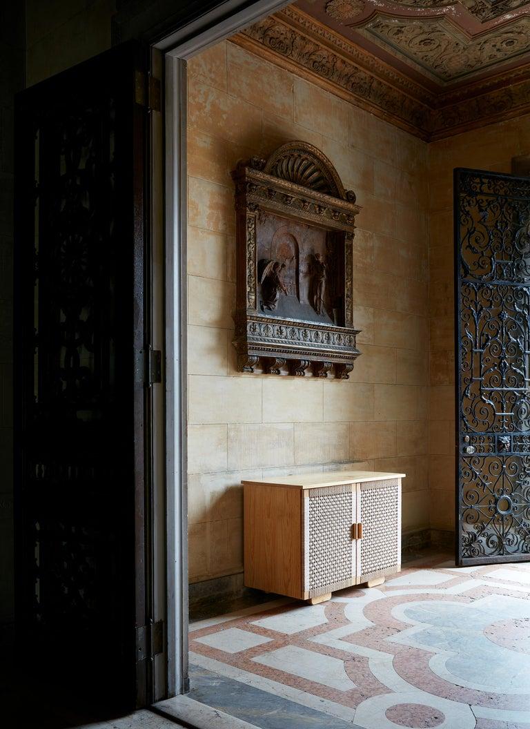 Mid-Century Modern Handwoven Palm and Wood 4-Door Credenza by Michael van Beuren from LUTECA For Sale