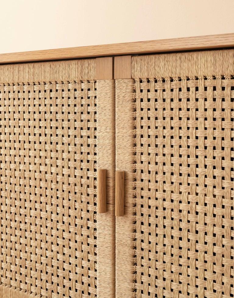 Hand-Woven Handwoven Palm and Wood 4-Door Credenza by Michael van Beuren from LUTECA For Sale