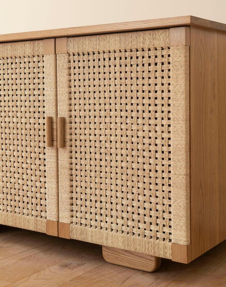 Contemporary Handwoven Palm and Wood 4-Door Credenza by Michael van Beuren from LUTECA For Sale
