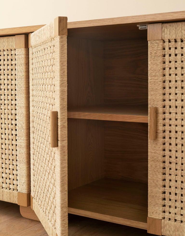 Handwoven Palm and Wood 4-Door Credenza by Michael van Beuren from LUTECA For Sale 1