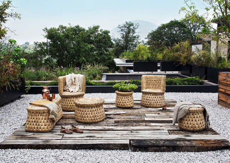 Mexican Handwoven Palm 'Icpalli' Lounge Chair Made in Mexico from Luteca For Sale