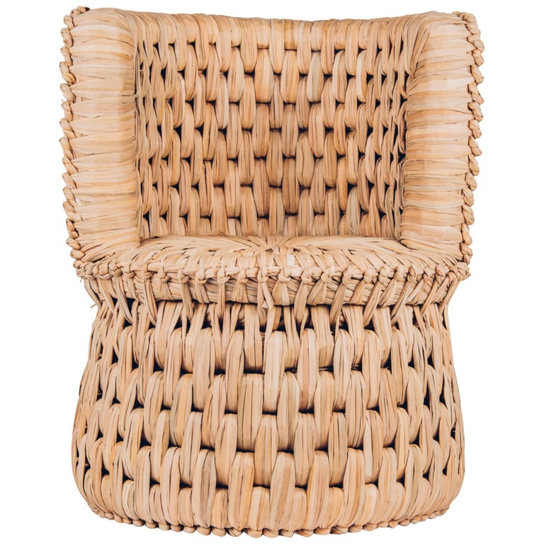 Handwoven Palm 'Icpalli' Lounge Chair Made in Mexico from Luteca For Sale