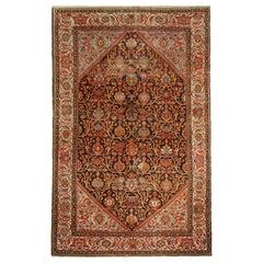 Handwoven Persian Rug, Traditional Rust Wool Malayer Carpet