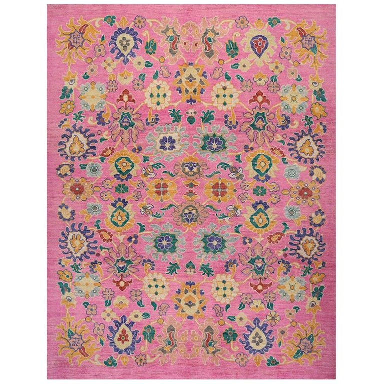 Handwoven Persian Sultanabad Recreation Rug For Sale