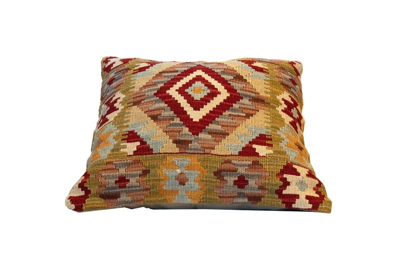 Rustic Handwoven Pillow Case, Wool Kilim Cushion Cover Beige Red For Sale