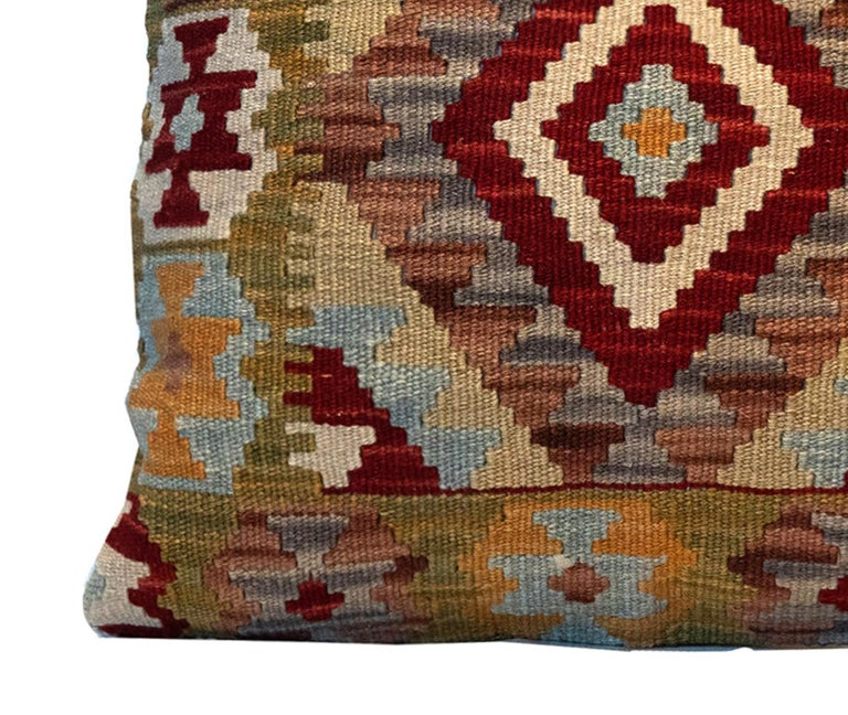 Afghan Handwoven Pillow Case, Wool Kilim Cushion Cover Beige Red For Sale