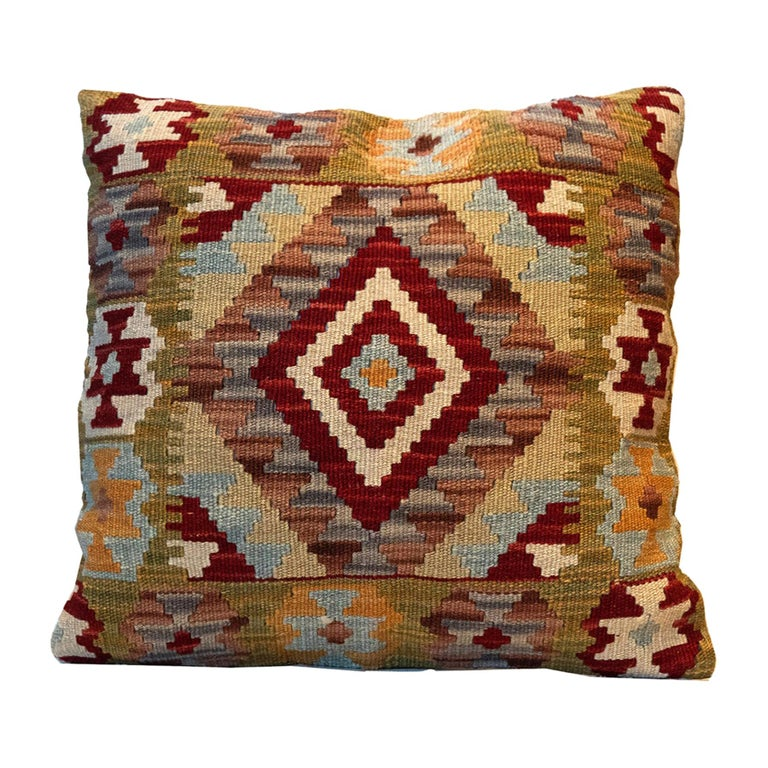 Handwoven Pillow Case, Wool Kilim Cushion Cover Beige Red For Sale