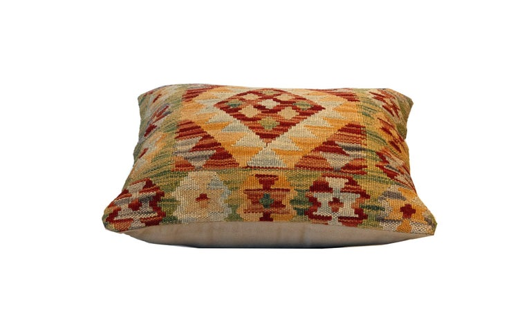 Tribal Handwoven Pillow Cover, Geometric Wool Cushion Cover Orange Red