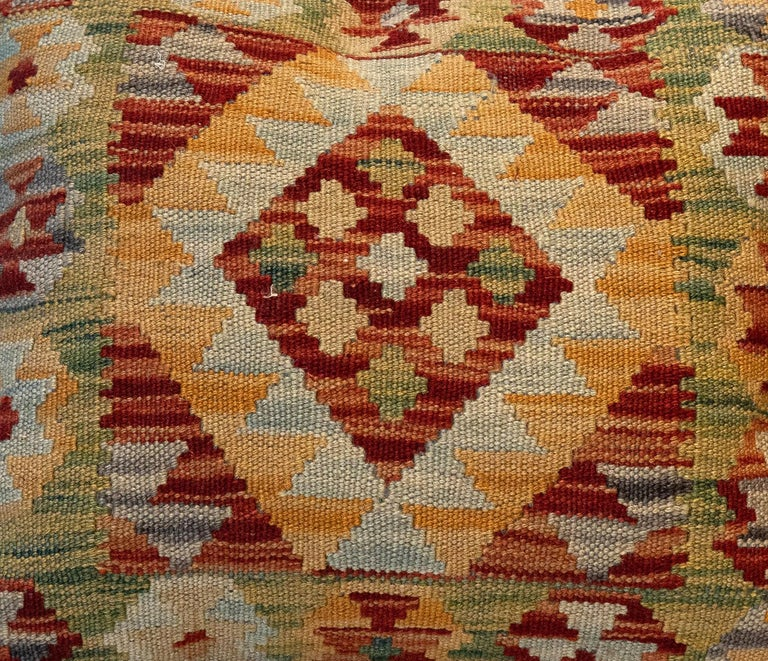 Afghan Handwoven Pillow Cover, Geometric Wool Cushion Cover Orange Red