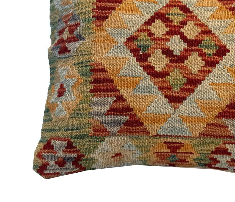 Vegetable Dyed Handwoven Pillow Cover, Geometric Wool Cushion Cover Orange Red