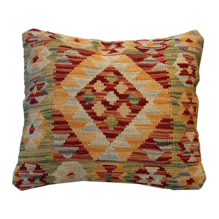 Handwoven Pillow Cover, Geometric Wool Cushion Cover Orange Red