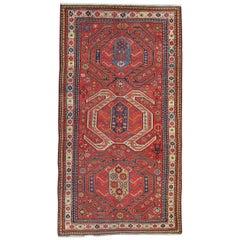 Handwoven Rare Antique Rug Caucasian Runner Rug Long Wool Carpet