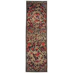 Handwoven Rare Antique Runner Rug Long Caucasian Wool Carpet