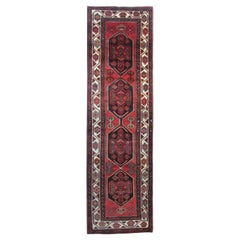 Handwoven Red Runner Rug, Traditional Oriental Vintage Carpet Rug