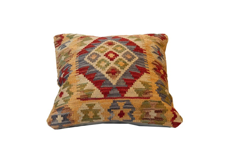 Kilim Handwoven Rose Cut Decorative Pillow, Bench Cushion Cover Hand Knotted For Sale