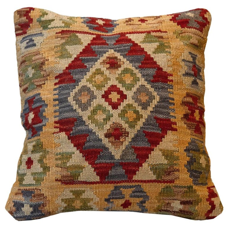 Handwoven Rose Cut Decorative Pillow, Bench Cushion Cover Hand Knotted For Sale